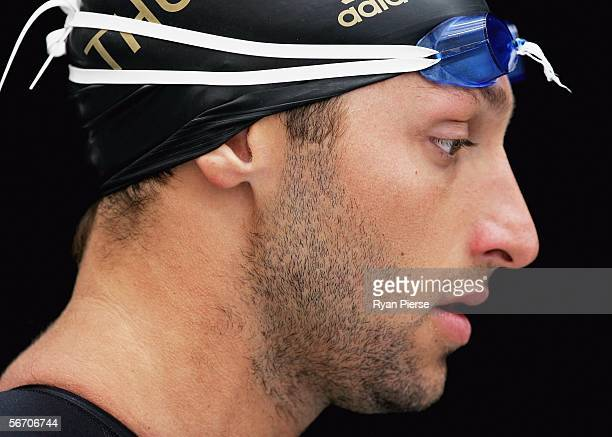 Ian Thorpe of Australia warms up before his 200m Freestyle Heat during day two of the Australian Commonwealth Games Swimming Trials at Melbourne...