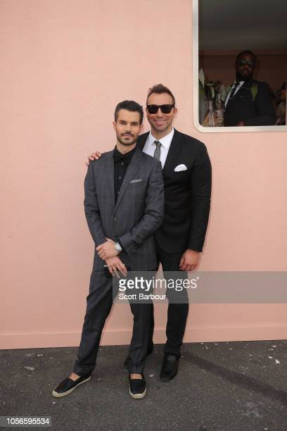 Ian Thorpe Ryan Channing pose Derby Day at Flemington Racecourse on November 3 2018 in Melbourne Australia