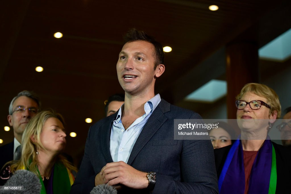 Ian Thorpe speaks to the media and celebrates the result of the marriage bill on December 7, 2017 in Canberra, Australia. The historic bill was passed on the final day of parliamentart sitting for 2017. The legislation means same-sex couples will now be able to be legally married in Australia. Australians voted 'Yes' in the Marriage Law Postal Survey for the law to be changed in November.