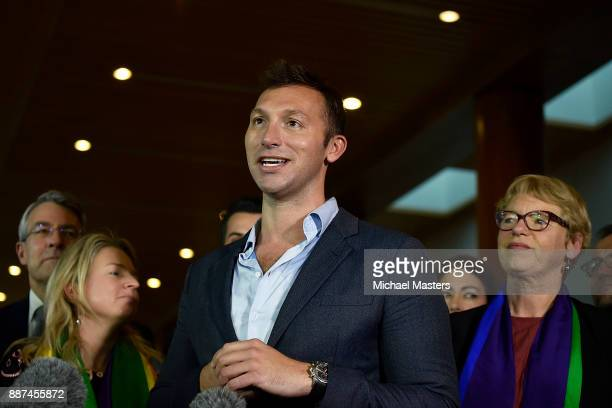 Ian Thorpe speaks to the media and celebrates the result of the marriage bill on December 7 2017 in Canberra Australia The historic bill was passed...