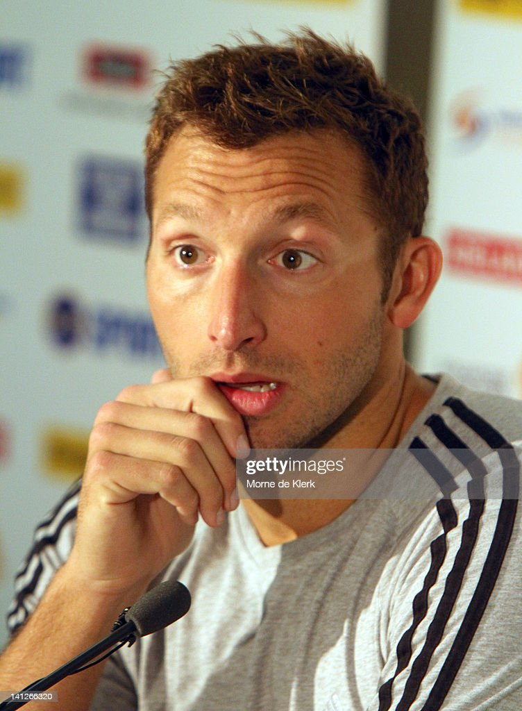 Ian Thorpe speaks to the media during an Australian Swimming Championships press conference at the South Australian Aquatic & Leisure Centre on March 14, 2012 in Adelaide, Australia.