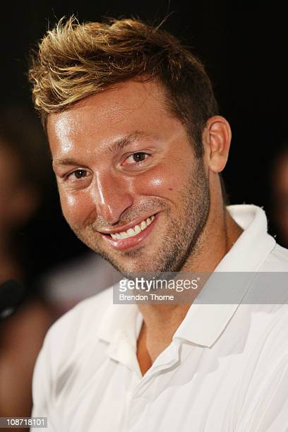 Ian Thorpe speaks to the media to announce his return to swimming for the 2012 London Olympic Games at the Sofitel Hotel on February 2 2011 in Sydney...