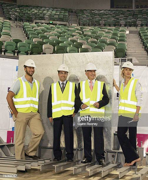 Ian Thorpe the minister James Merlino and the Chairman Tony Beddison of Melbourne 2007 and Susie O'Neill pose infront oif the first panel of the pool...