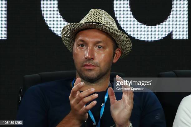 Ian Thorpe watches the thirs round match between Roger Federer and Taylor Fritz of the United States during day five of the 2019 Australian Open at...