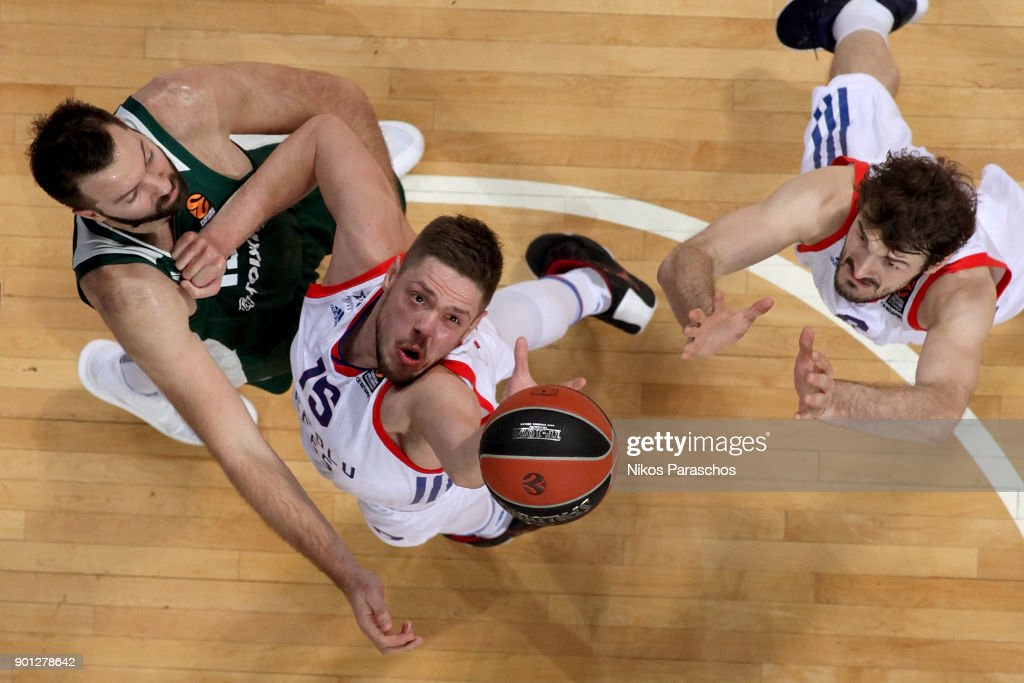 Ian Vougioukas, #15 of Panathinaikos Superfoods Athens competes with Vladimir Stimac, #15 of Anadolu Efes Istanbul during the 2017/2018 Turkish Airlines EuroLeague Regular Season Round 16 game between Panathinaikos Superfoods Athens and Anadolu Efes Istanbul at Olympic Sports Center Athens on January 4, 2018 in Athens, Greece.