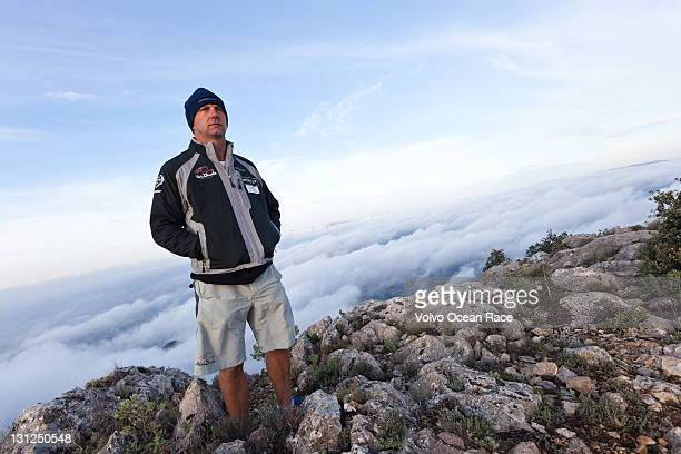 Ian Walker of Great Britain and Abu Dhabi Ocean Racing poses during a photoshoot atop a mountain on November 2 2011 near Alicante Spain The Volvo...