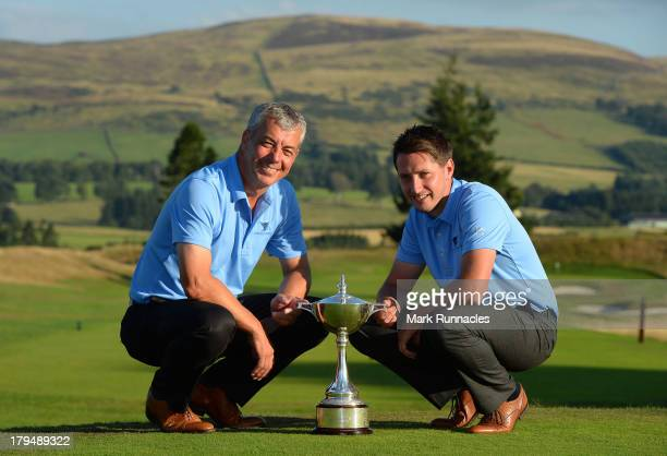 Ian Walley and Ian Neal of Kedleston Park Golf Club winners of the 2013 Lombard Trophy pose for a photograph during the Lombard Trophy at Gleneagles...