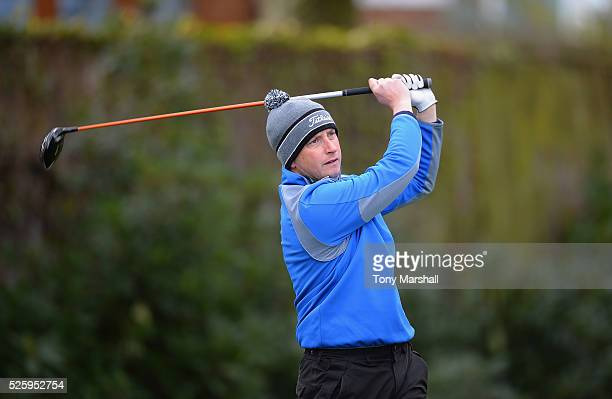 Ian Walley of Kedleston Park Golf Club plays his first shot on the 1st tee during the PGA Professional Championship Midland Qualifier at Little Aston...