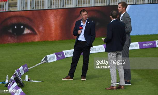 Ian Ward Michael Atherton and Stuart Broad work for Sky Sports during the 2nd Royal London One Day International Series match between England and...