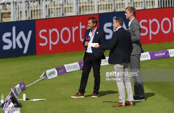 Ian Ward Michael Atherton and Stuart Broad working for Sky Sports during the 2nd Royal London One Day International Series match between England and...