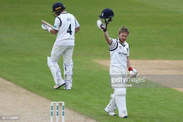 Ian Westwood of Warwickshire celebrates reaching his century during day one of the Specsavers County Championship Division One match between...