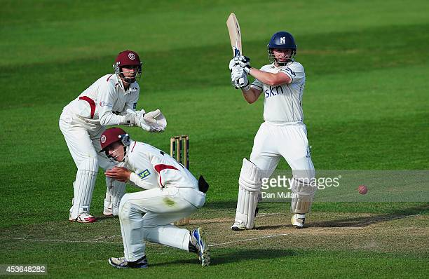 Ian Westwood of Warwickshire plays a shot to reach his century during day one of the LV County Championship Division One match between Somerset and...