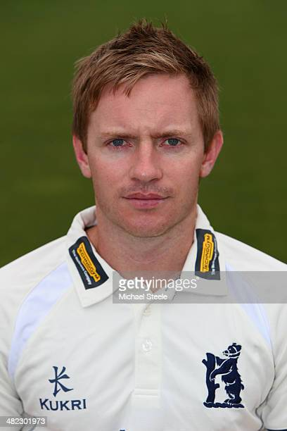 Ian Westwood of Warwickshire poses in the LV County kit during the Warwickshire CCC photocall at Edgbaston on April 3 2014 in Birmingham England