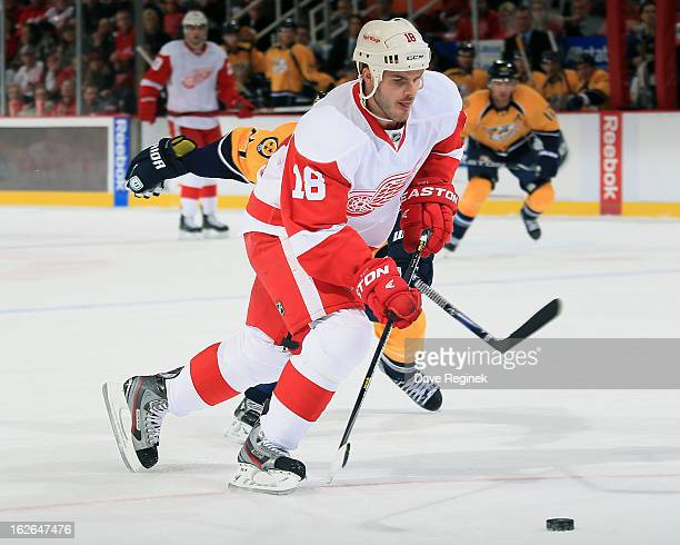 Ian White of the Detroit Red Wings skates with the puck during a NHL game against the Nashville Predators at Joe Louis Arena on February 23 2013 in...