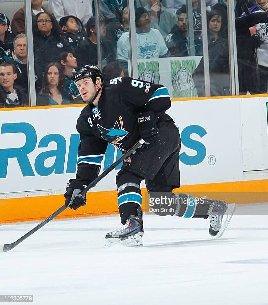 Ian White of the San Jose Sharks shoots the puck against the Los Angeles Kings in Game One of the Western Conference Quarterfinals during the 2011...