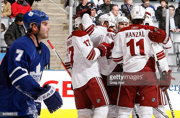 Ian White of the Toronto Maple Leafs skates past as Martin Hanzal of the Phoenix Coyotes celebrates a third period goal with teammates during game...