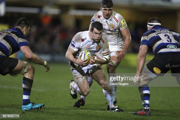 Ian Whitten of Exeter breaks with the ball during the Aviva Premiership match between Bath Rugby and Exeter Chiefs at the Recreation Ground on March...