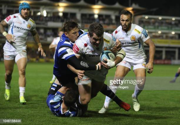 Ian Whitten of Exeter Chiefs dives over for their fourth try during the Gallagher Premiership Rugby match between Bath Rugby and Exeter Chiefs at the...