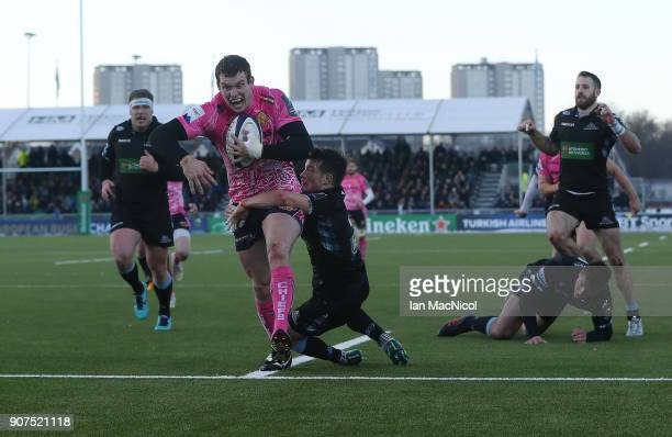Ian Whitten of Exeter Chiefs scores his team's third try during the European Rugby Champions Cup match between Glasgow Warriors and Exeter Chiefs at...