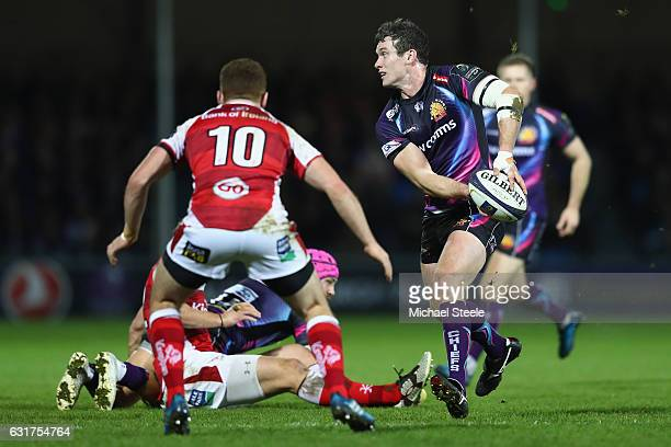 Ian Whitten of Exeter looks to offload as Paddy Jackson of Ulster closes in during the European Rugby Champions Cup Pool 5 match between Exeter...