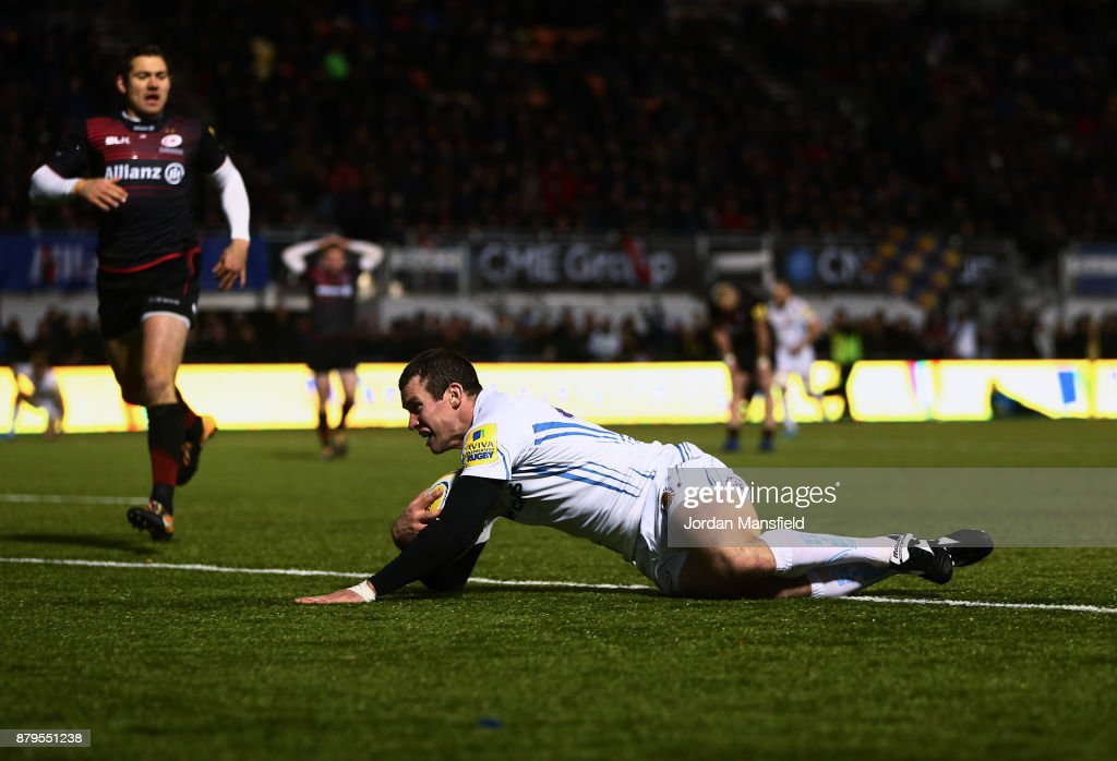 Ian Whitten of Exeter touches down a try during the Aviva Premiership match between Saracens and Exeter Chiefs at Allianz Park on November 26, 2017 in Barnet, England.