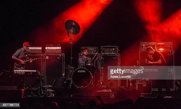 Ian Williams John Stanier and Dave Konopka of Battles perform at Primavera Sound Day 2 on June 2 2016 in Barcelona Spain