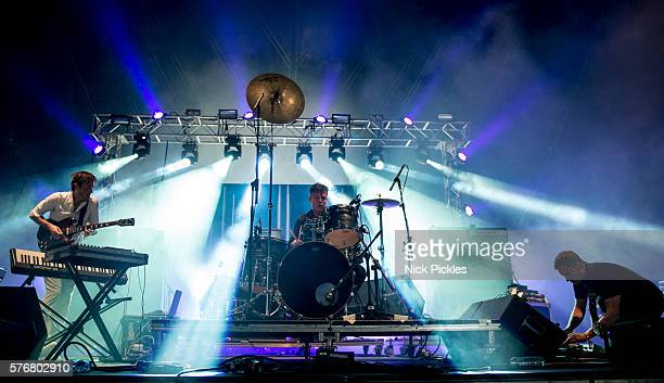 Ian Williams John Stanier and Dave Konopka of Battles perform at Citadel Festival at Victoria Park on July 17 2016 in London England