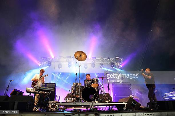 Ian Williams John Stanier and Dave Konopka of Battles performs live on stage at Citadel Festival at Victoria Park on July 17 2016 in London England