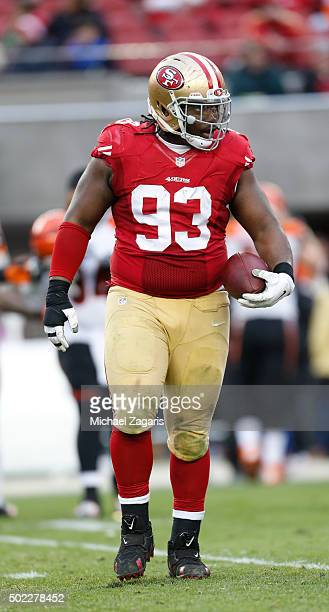 Ian Williams of the San Francisco 49ers stands on the field with the ball after recovering a fumble during the game against the Cincinnati Bengals at...
