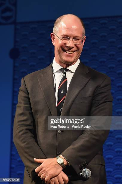 Ian Williams speaks on stage during the Rugby World Cup 2019 match schedule announcement at Grand Prince Hotel Shin Takanawa on November 2 2017 in...