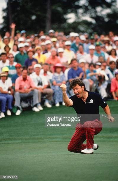 Ian Woosnam Celebrates His Final Putt On The 18th Green During The Final Round Of The 1991 Masters Tournament