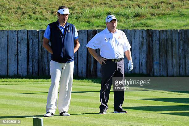 Ian Woosnam of Wales and Jean Van De Velde of France in action during the first round of the Paris Legends Championship played on L'Albatros course...