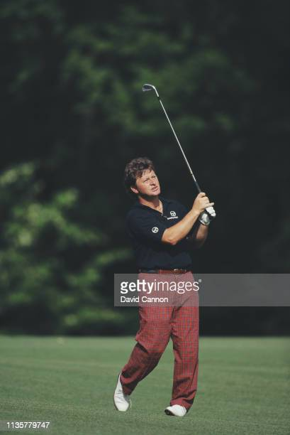 Ian Woosnam of Wales hits an iron off the fairway during the final round of the US Masters Golf Tournament on 14th April 1991