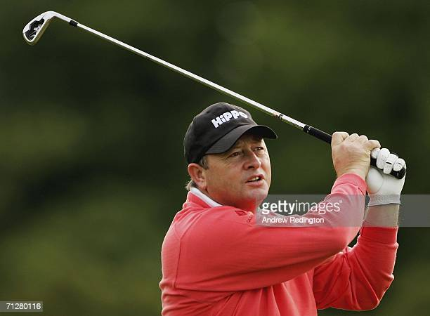 Ian Woosnam of Wales hits his second shot on the 16th hole during the second round of The Johnnie Walker Championship on The PGA Centenary Course at...