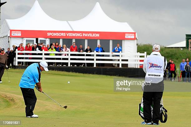 Ian Woosnam of Wales in action during the final round of the Speedy Services Wales Senior Open played at Royal Porthcawl Golf Club on June 16 2013 in...