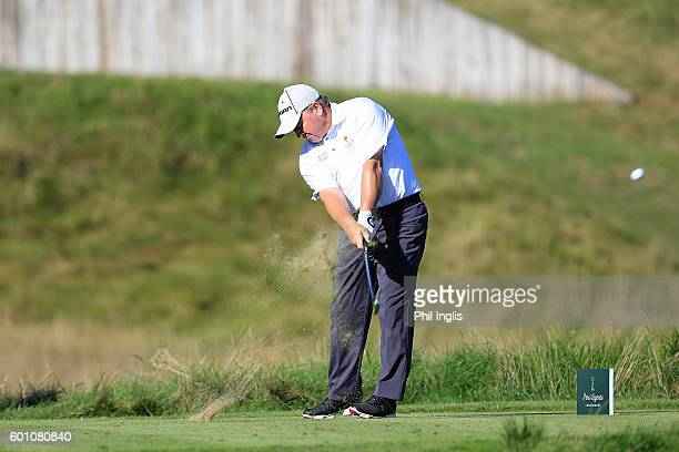 Ian Woosnam of Wales in action during the first round of the Paris Legends Championship played on L'Albatros course at Le Golf National on September...