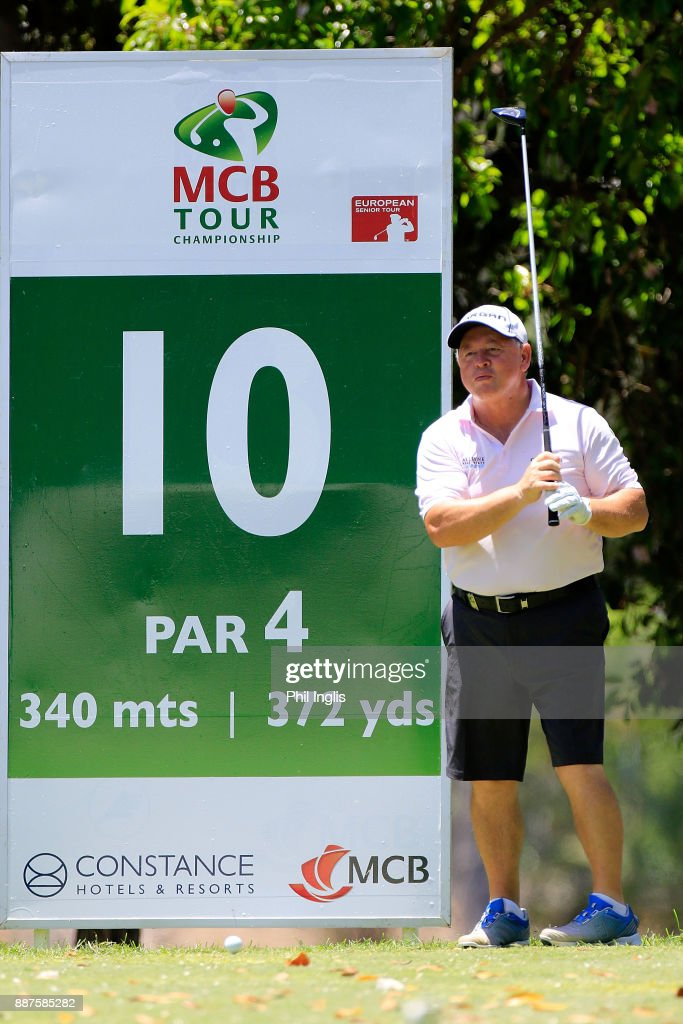Ian Woosnam of Wales in action on the 10th tee during the ProAm ahead of the first round of the MCB Tour Championship played over the Legend Course at Constance Belle Mare Plage on December 7, 2017 in Port Louis, Mauritius.