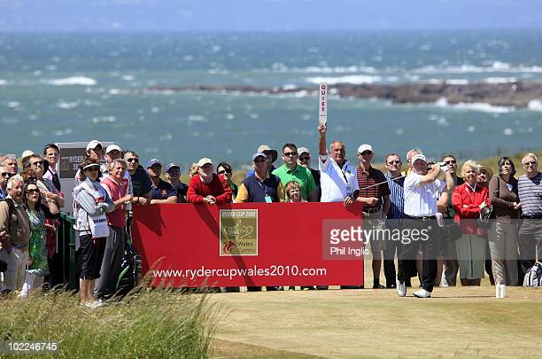 Ian Woosnam of Wales in action on the 17th hole during the final round of the Ryder Cup Wales Seniors Open played at Royal Porthcawl Golf Club on...