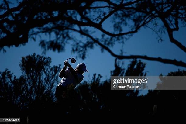 Ian Woosnam of Wales plays a tee shot on the third hole during the final round of the Charles Schwab Cup Championship on the Cochise Course at The...