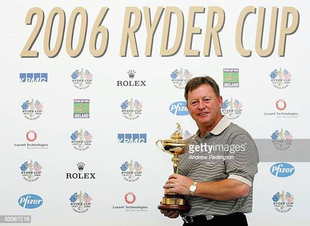Ian Woosnam of Wales poses with the Ryder Cup trophy at a press conference to mark the start of the Ryder Cup Qualifying after the ProAm for The...