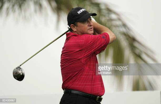 Ian Woosnam of Wales tees off on the 11th hole during the first round of the TCL Classic at the Yalong Bay Golf Club March 17, 2005 in Sanyan, Hainan...