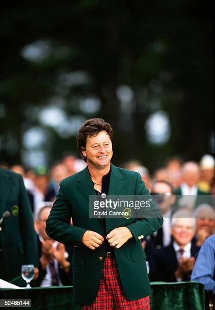 Ian Woosnam of Wales with the green jacket after the final round of the Masters held at The Augusta National Golf Club on April 14 1991 in Augusta GA