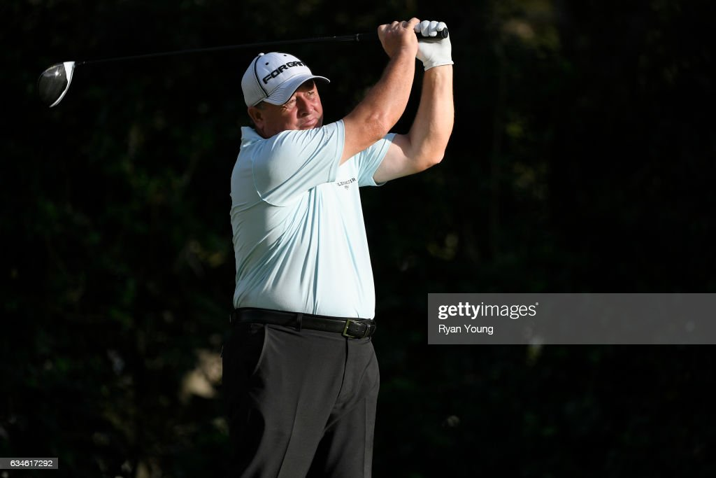 Ian Woosnam tees off on the 18th hole during the first round of the PGA TOUR Champions Allianz Championship at The Old Course at Broken Sound on February 10, 2017 in Boca Raton, Florida.