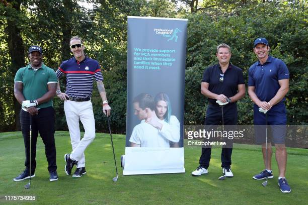 Ian Wright and friends pose for the camera during the PCA Trust Golf Day at Woburn Golf Club on September 19 2019 in Woburn England