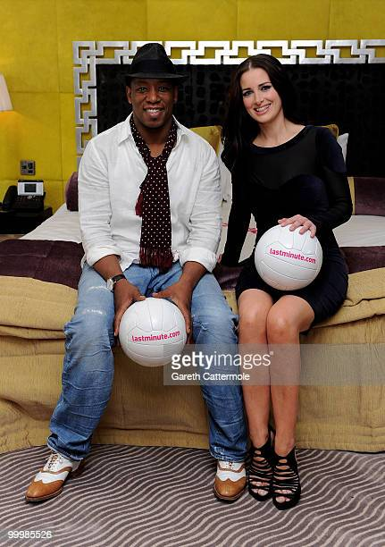 Ian Wright and Kirsty Gallacher attend a photocall to launch Lastminutecom's World Cup offers at The Mayfair Hotel on May 19 2010 in London England