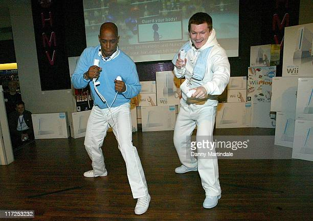 Ian Wright and Ricky Hatton during Nintendo Wii UK Launch at HMV Oxford Street in London Great Britain