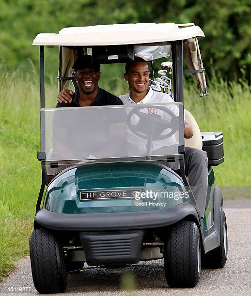 Ian Wright and Theo Walcott during a Vauxhall Golf Day for the England Football team at The Grove Hotel on May 30 2012 in Hertford England