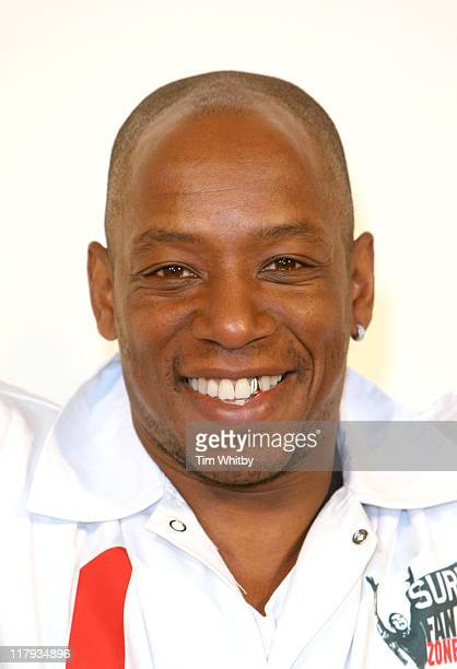 Ian Wright during Ian Wright Unveils Sure FanZone April 20 2006 at Candid Studios in London Great Britain