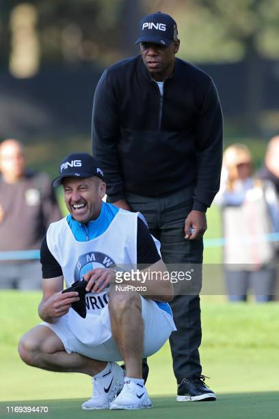 Ian Wright has a laugh with his caddie during the BMW PGA Championship Pro Am at Wentworth Club Virginia Water on Wednesday 18th September 2019