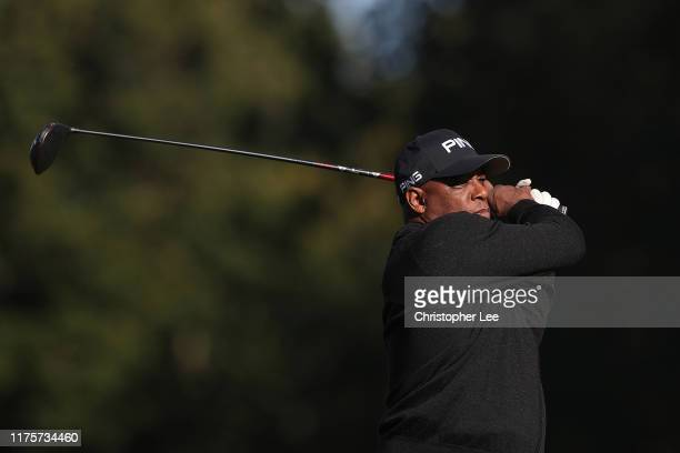 Ian Wright laughs during the PCA Trust Golf Day at Woburn Golf Club on September 19 2019 in Woburn England